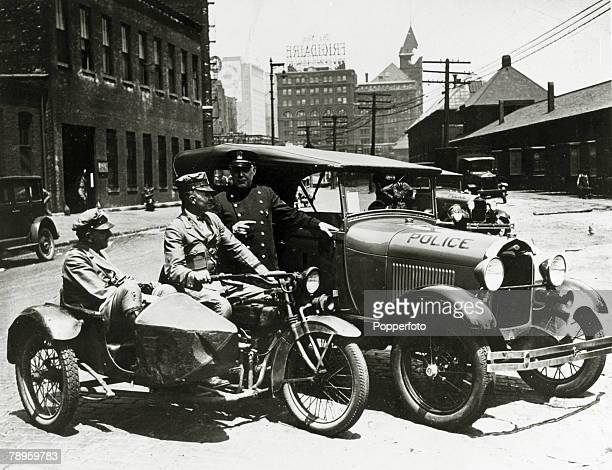 Law and OrderTransport Motorcycles pic circa 1930 Chicago policemen with motorcycle and sidecar combination and police car