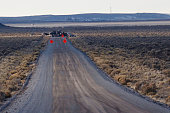 Law Enforcement Agencies operate a checkpoint on a road as a containment strategy surrounding the Malheur Wildlife Refuge January 27 2016 near Burns...