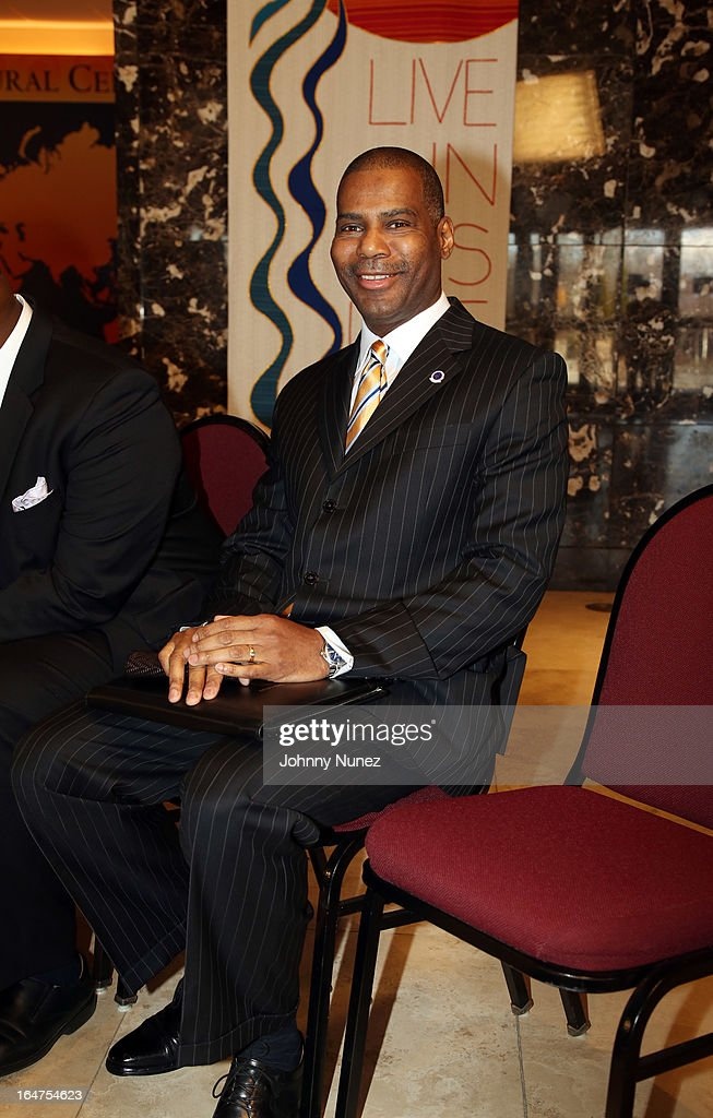 Law enforcement expert Gregory A. Thomas attends the Guns 4 Greatness Press Conference at Christian Cultural Center on March 27, 2013, in the Brooklyn borough of New York City.