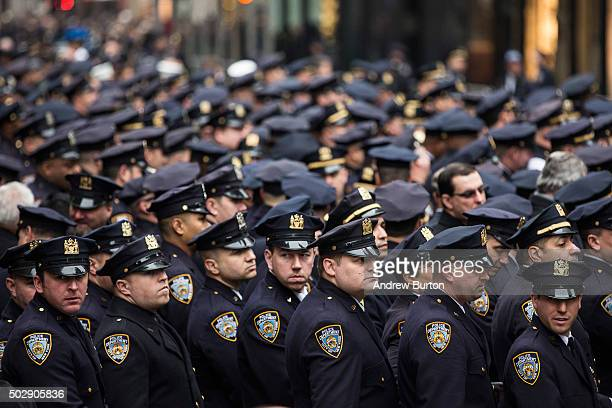 Law enforcement officials attend the funeral of New York Police Department Detective and Air National Guard Sergeant Joseph Lemm at St Patrick's...