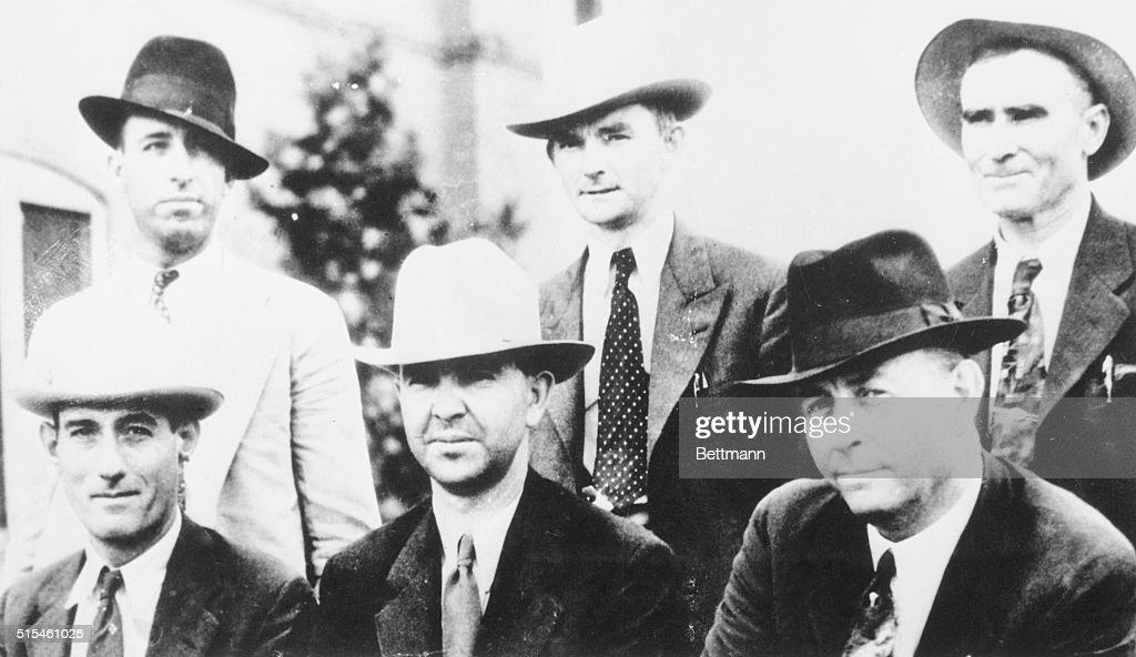 Law enforcement team who tracked down and killed notorious outlaws Bonnie and Clyde (l-r) (top row): Ted Henton, Dallas County sheriff P.M. Oakley, B.M. Cault; (bottom row): Bob Alcoru, sheriff Henderson Jordan, and Texas Ranger Frank Hamer.