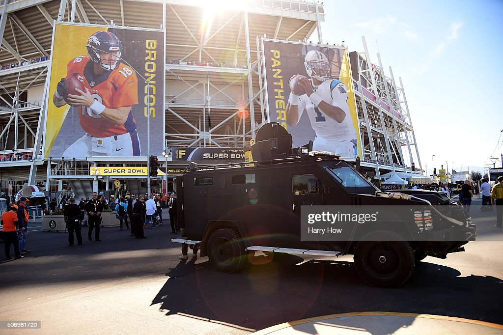A law enforcement vehicle is seen outside Levi's Stadium prior to Super Bowl 50 between the Denver Broncos and the Carolina Panthers on February 7, 2016 in Santa Clara, California.