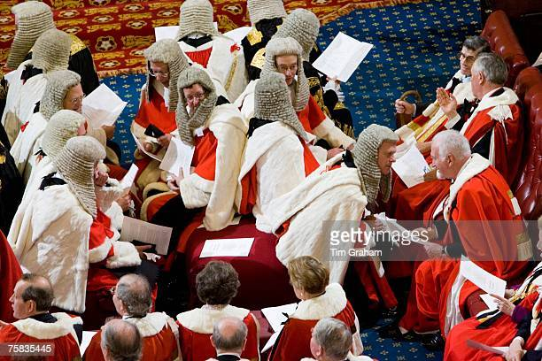 Law Lords of House of Lords in wigs and robes at State Opening of Parliament House of Lords England United Kingdom