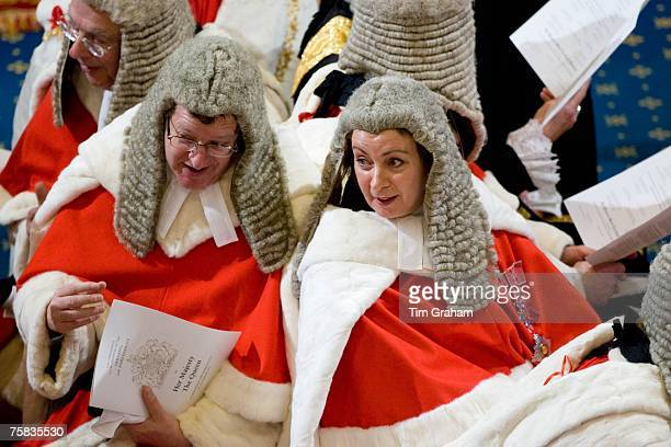Law lords of House of Lords in wigs and robes at State Opening of Parliament House of Lords London England United Kingdom