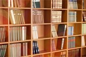 Many books on shelves, Blurred Library backdrop