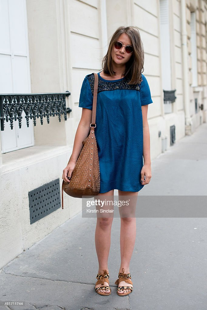 Law student Ambre Lamoine weating Sezanne Sandals and dress, Sandro bag and vintage sunglasses on day 3 of Paris Collections: Men on JUNE 27, 2014 in Paris, France.