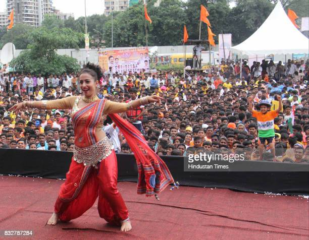 Lawani dance performance during Dahi Handi celebration on the occasion of Janmashtami at Borivali on August 15 2017 in Mumbai India The childgod...