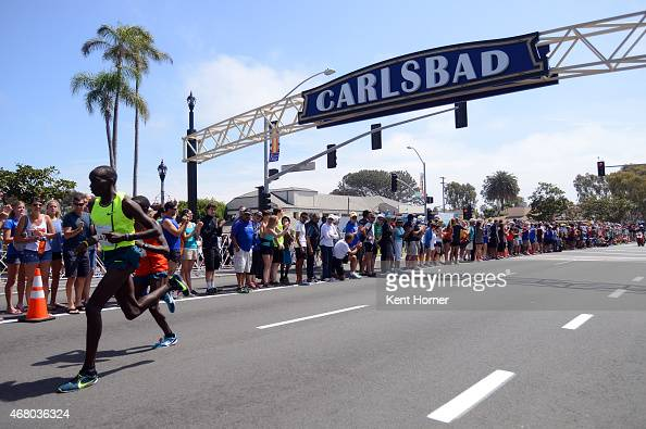 Lawi Lalang of Kenya leads in the elite race of the 30th running of the Carlsbad 5000 billed as the World's Fastest 5K by having 16 world records set...