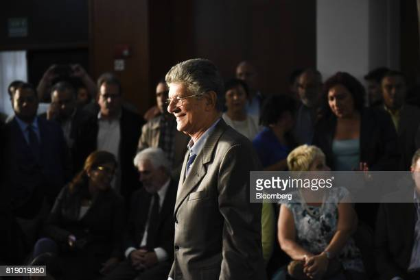 Lawmaker Henry Ramos Allup arrives to a press conference held by the opposition coalition announcing the goals of a transitional government in...