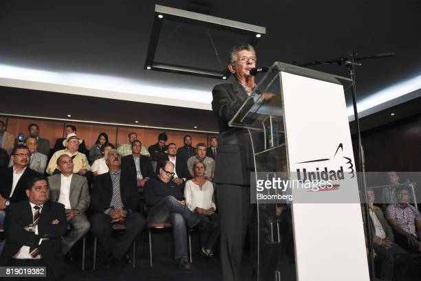 Lawmaker Henry Ramos Allup speaks during a press conference held by the opposition coalition announcing the goals of a transitional government in...