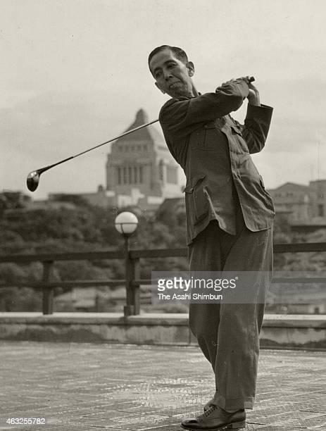 Lawmaker Nobusuke Kishi practice his golf swing circa 1939 in Tokyo Japan