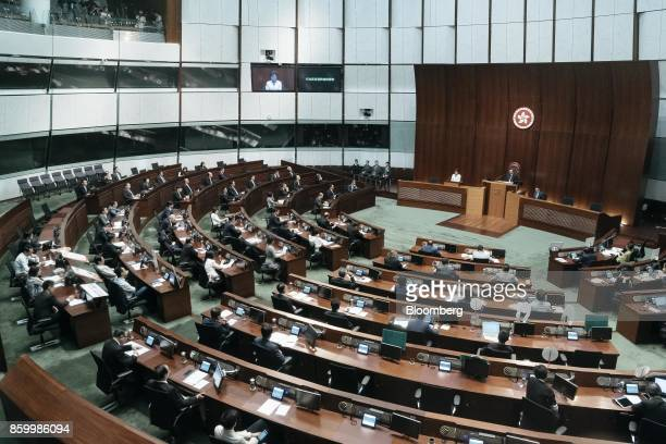 Lawmakers attend a policy address by Hong Kong's Chief Executive Carrie Lam in the chamber of the Legislative Council in Hong Kong China on Wednesday...