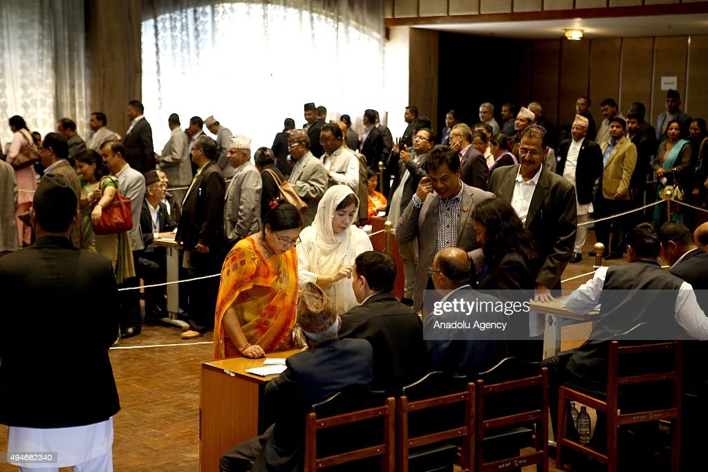 Lawmakers cast their votes during Nepal's presidential election at the parliament in Kathmandu Nepal 28 October 2015 Bhandari who is the widow of the...