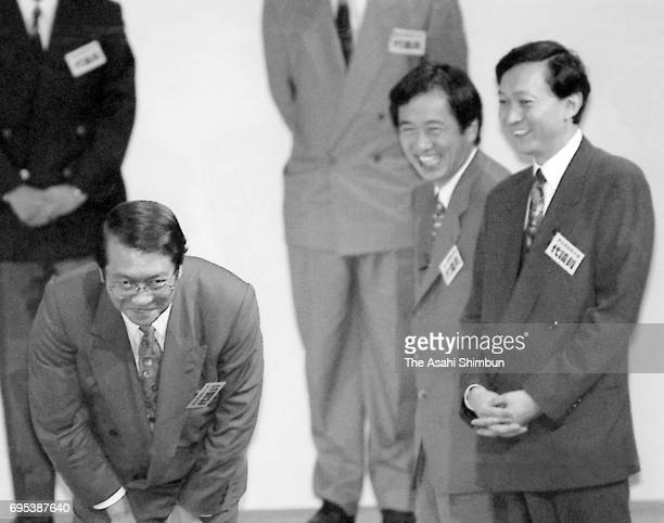 Lawmakers Kunio Hatoyama Naoto Kan and Yukio Hatoyama attend the foundation ceremony of the Democratic Party of Japan at the Japan Education Center...