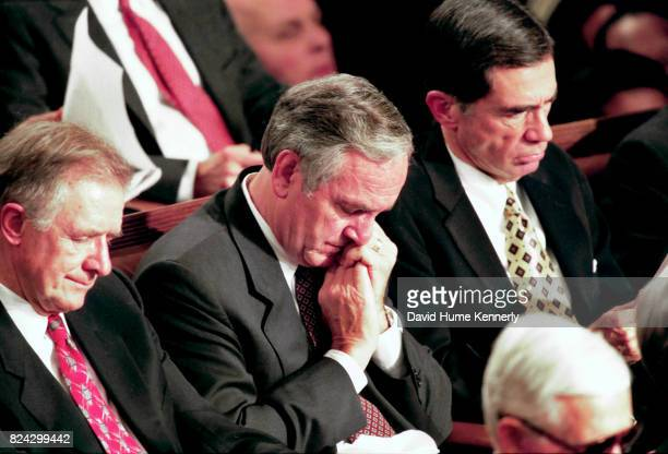 Lawmakers listen to President Bill Clinton's State of the Union Speech before a joint session of Congress Washington DC January 19 1999