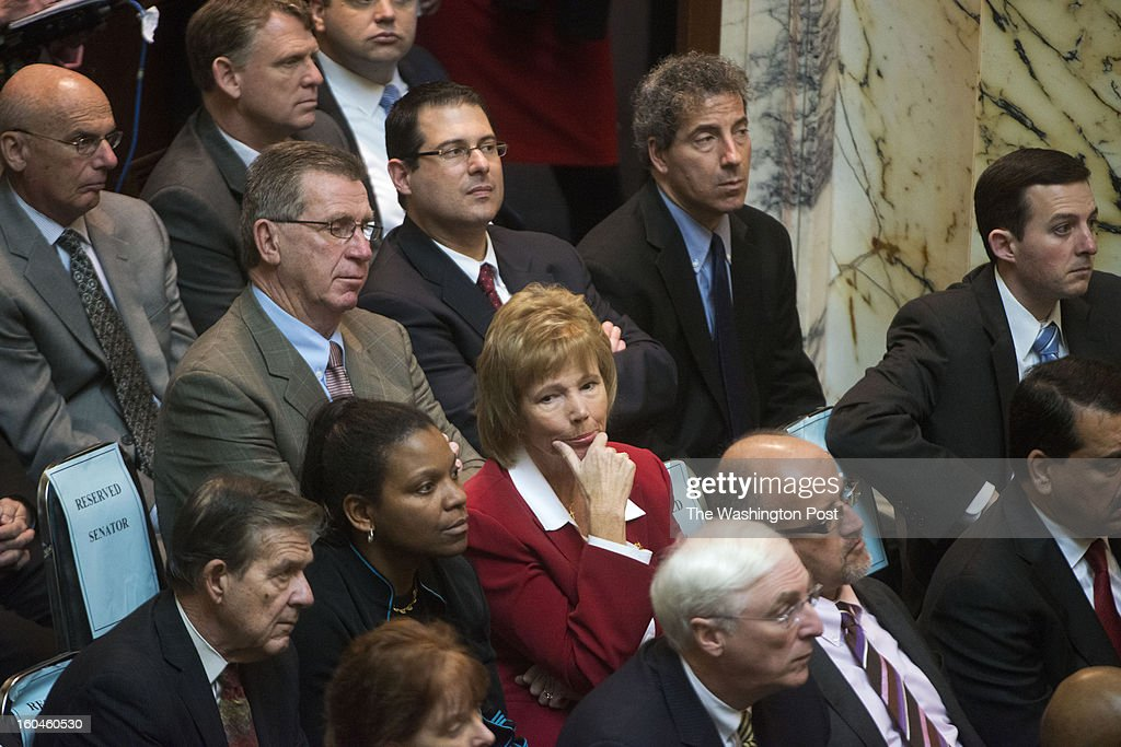 Lawmakers, lobbyists, guests and associates listen as the Maryland Governor Martin O' Malley delivers the State of the State address in Annapolis, Maryland on January 29, 2013. The governor called for a ban on assault rifles as well as an end to the death penalty.