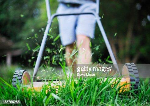 Lawn being mowed.