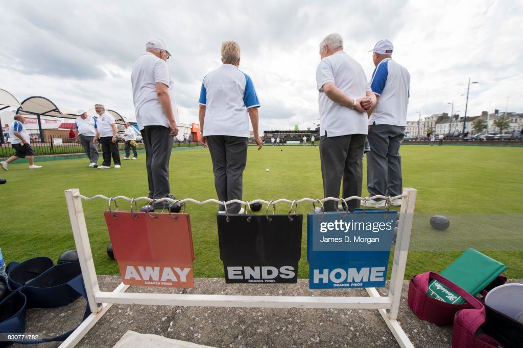 Lawn bowlers play an afternoon game on August 12, 2017 in Great Yarmouth, England. A cloudy overcast day greeted visitors to the Norfolk seaside town on one of the busiest weekends of the summer period. The town has been a seasiside resort since 1760 and today it has developed renewable energy sources with a wind farm of 30 generators within sight of the town in the North Sea. Thousands of British holidaymakers will visit the area over the summer period.