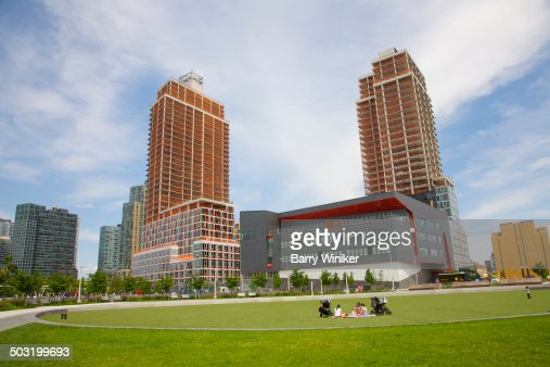Lawn, school and apartment towers in Queens