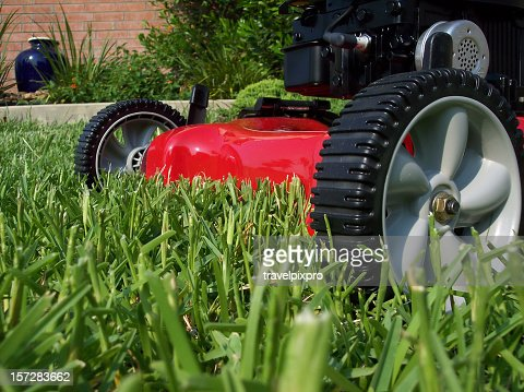 Lawnmower cutting grass on a sunny day