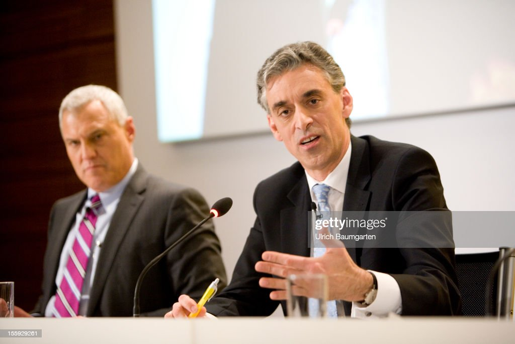 Lawrence (Larry) A. Rosen, Chief Financial Officer of Deutsche Post AG and Frank Appel, Chief Executive Officer of Deutsche Post DHL, delivers his speech during the company's nine months press conference at Hilton Frankfurt Airport on November 8, 2012 in Frankfurt am Main, Germany.
