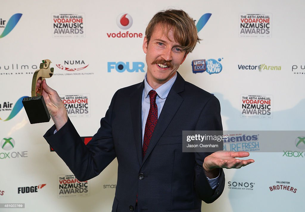 Lawrence Arabia poses with the award for best male solo artist during the New Zealand Music Awards at Vector Arena on November 21, 2013 in Auckland, New Zealand.