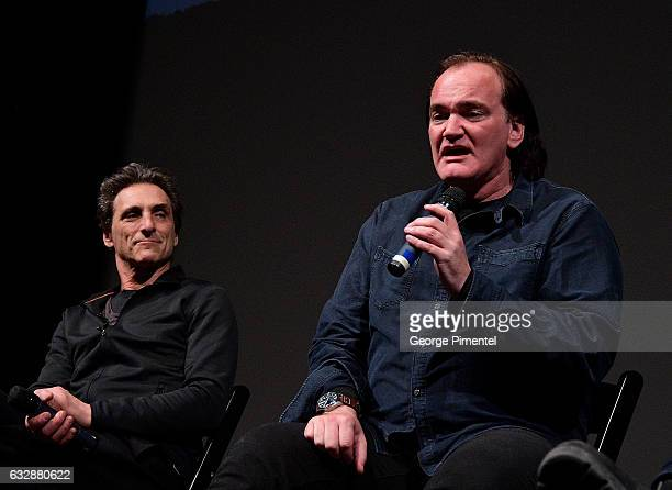 Lawrence Bender and Quentin Tarantino speak at the 'Reservoir Dogs' 25th Anniversary Screening during the 2017 Sundance Film Festival at Eccles...