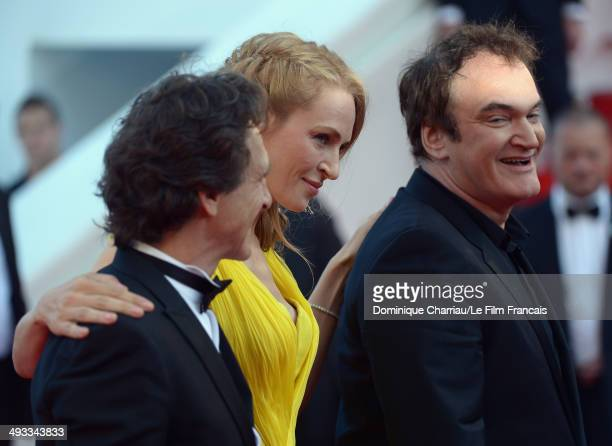 Lawrence Bender Quentin Tarantino and Uma Thurman attend the 'Clouds Of Sils Maria' Premiere during the 67th Annual Cannes Film Festival on May 23...