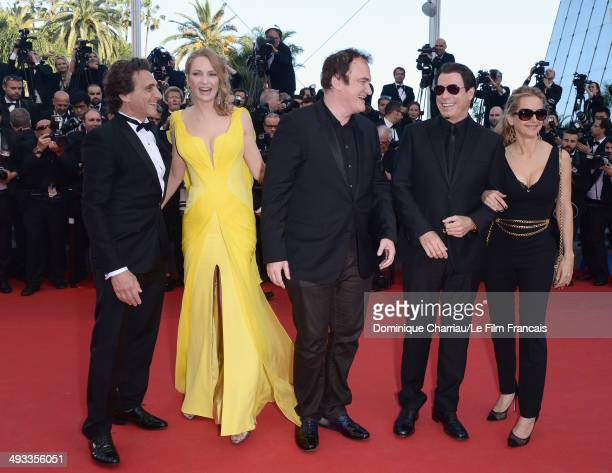 Lawrence Bender Uma Thurman Quentin Tarantino John Travolta and Kelly Preston attend the 'Clouds Of Sils Maria' Premiere during the 67th Annual...