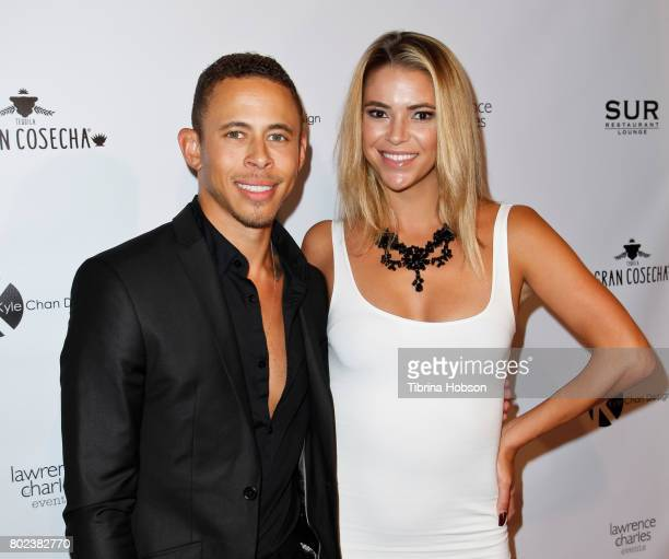 Lawrence Carroll and Chelsea Jeffers attend Kyle Chan's 3rd annual #LOVECAMPAIGN Party at SUR Lounge on June 27 2017 in Los Angeles California