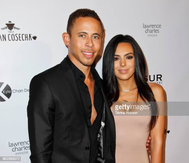 Lawrence Carroll and Marissa Chykirda attend Kyle Chan's 3rd annual #LOVECAMPAIGN Party at SUR Lounge on June 27 2017 in Los Angeles California