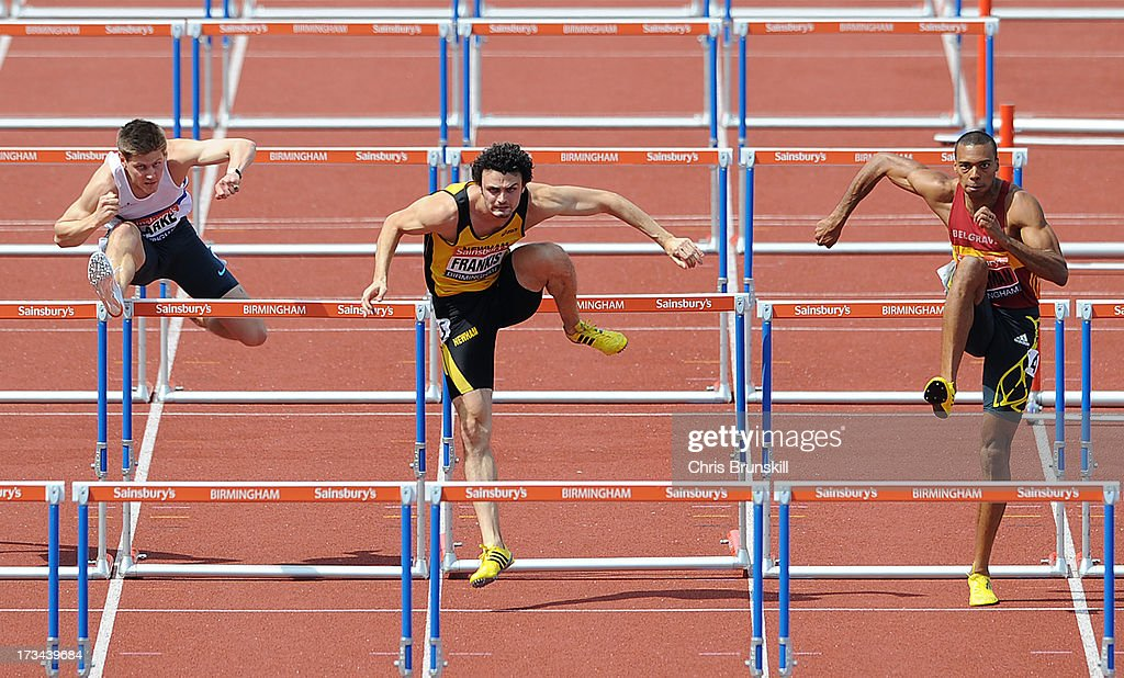 Lawrence Clarke, Gianni Frankis and William Sharman compete in 110m hurdles final during day three of the Sainsbury's British Championships, British Athletics World Trials and UK & England Championships at Alexander Palace on July 14, 2013 in Birmingham, England.