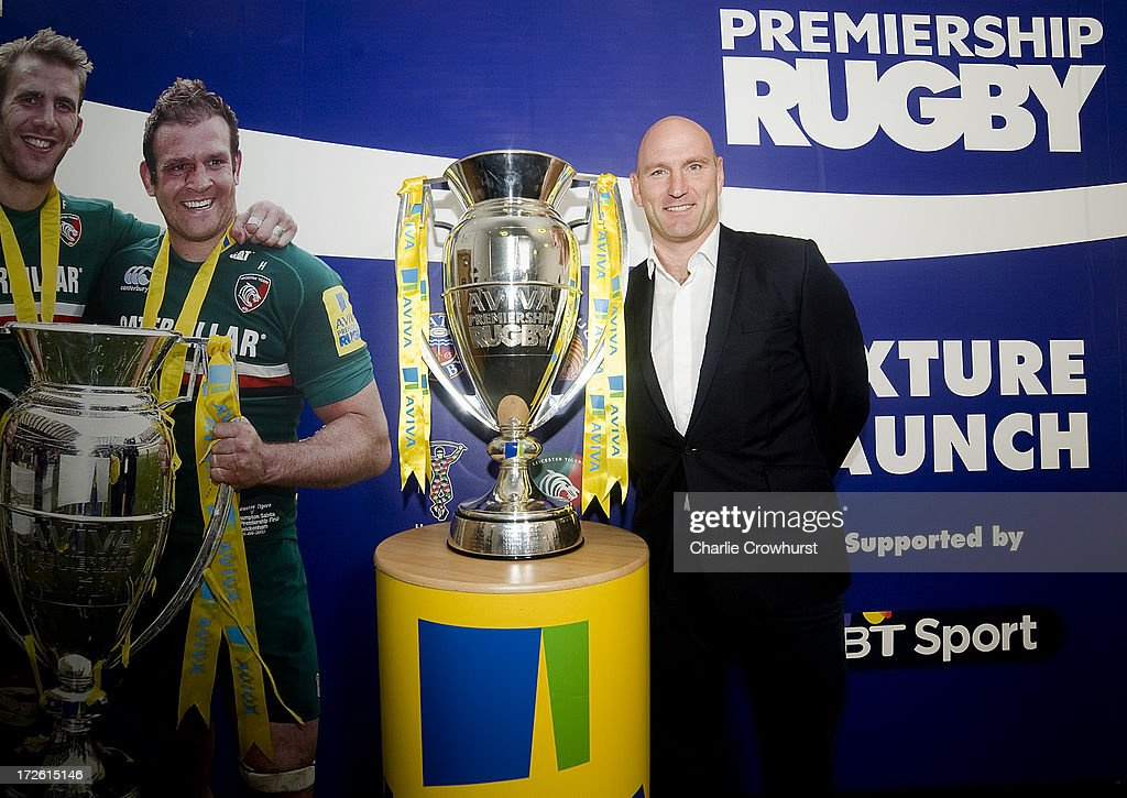 Lawrence Dallaglio stands with the Aviva Premiership Trophy during the 2013-14 Aviva Premiership Rugby Season Fixtures Announcement at The BT Tower on July 4, 2013 in London, England.