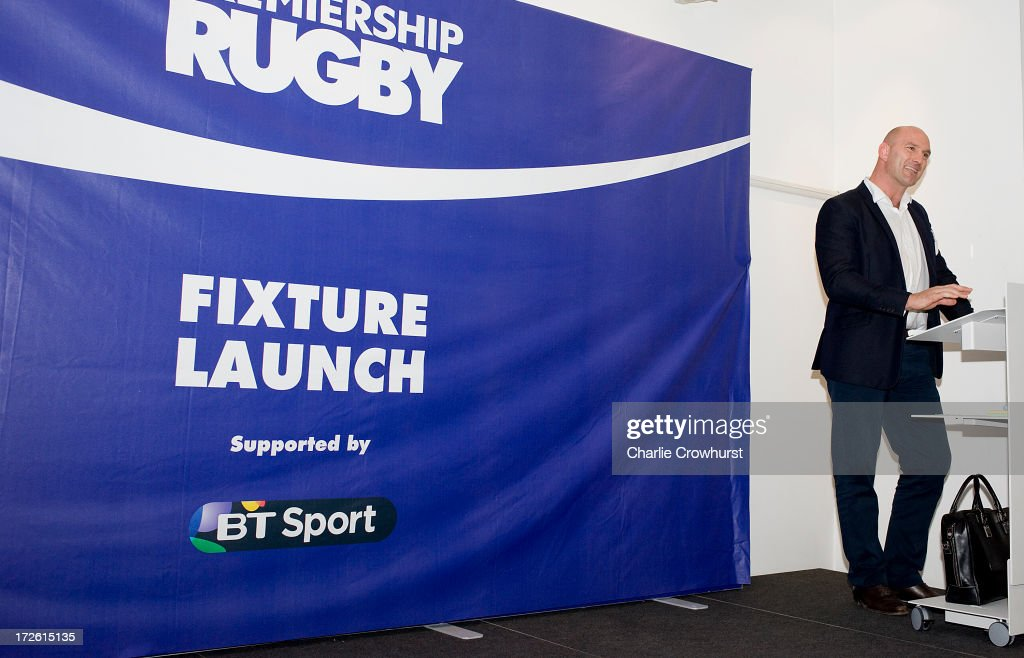 Lawrence Dallaglio talks to the media during the 2013-14 Aviva Premiership Rugby Season Fixtures Announcement at The BT Tower on July 4, 2013 in London, England.
