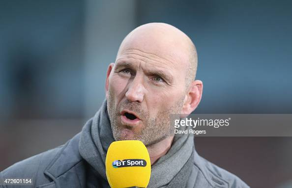 Lawrence Dallaglio the former England international now BT Sport rugby pundit looks on during the Aviva Premiership match between Harlequins and Bath...