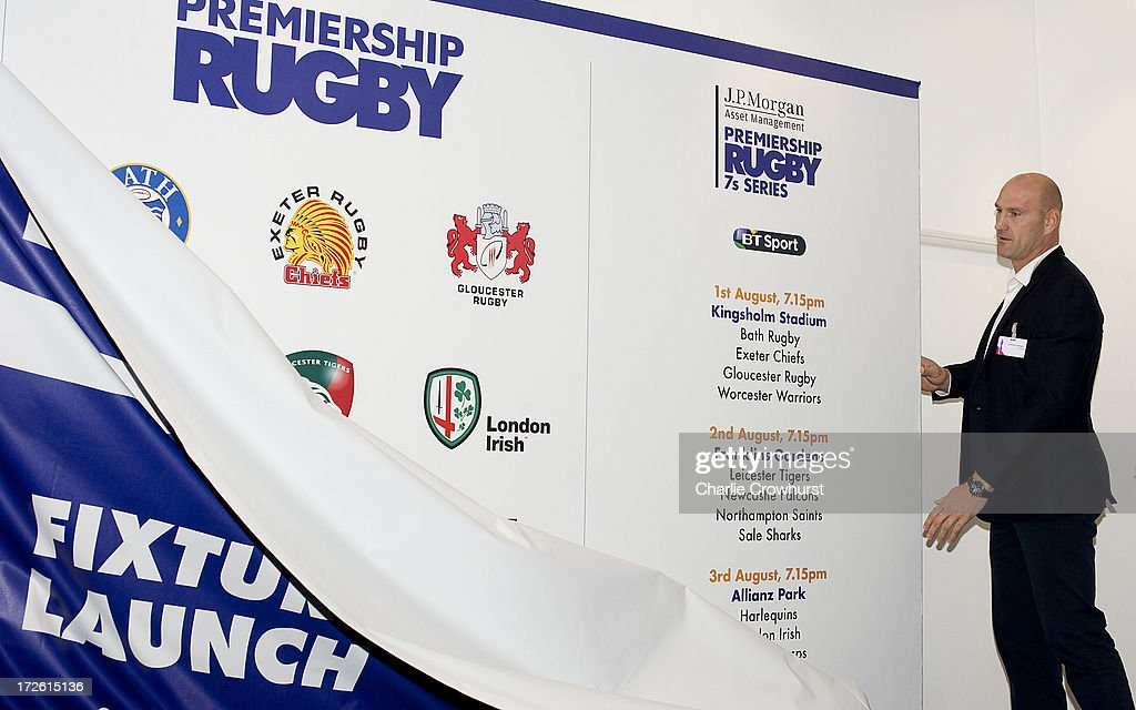 <a gi-track='captionPersonalityLinkClicked' href=/galleries/search?phrase=Lawrence+Dallaglio&family=editorial&specificpeople=162771 ng-click='$event.stopPropagation()'>Lawrence Dallaglio</a> unvales the fixtures during the 2013-14 Aviva Premiership Rugby Season Fixtures Announcement at The BT Tower on July 4, 2013 in London, England.