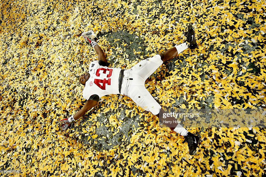 Lawrence Erekosima #43 of the Alabama Crimson Tide celebrates after defeating the Clemson Tigers in the 2016 College Football Playoff National Championship Game at University of Phoenix Stadium on January 11, 2016 in Glendale, Arizona. The Crimson Tide defeated the Tigers with a score of 45 to 40.