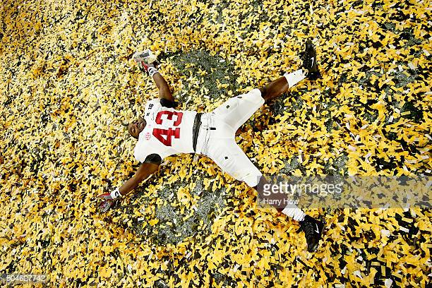 Lawrence Erekosima of the Alabama Crimson Tide celebrates after defeating the Clemson Tigers in the 2016 College Football Playoff National...