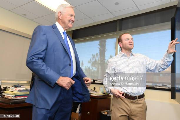 Lawrence Frank Executive Vice President of Basketball Operations of the Los Angeles Clippers with Jerry West as Special Consultant at a press...