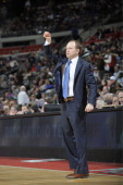 Lawrence Frank Head Coach of the Detroit Pistons calls a play against the Atlanta Hawks during the game on January 4 2013 at The Palace of Auburn...