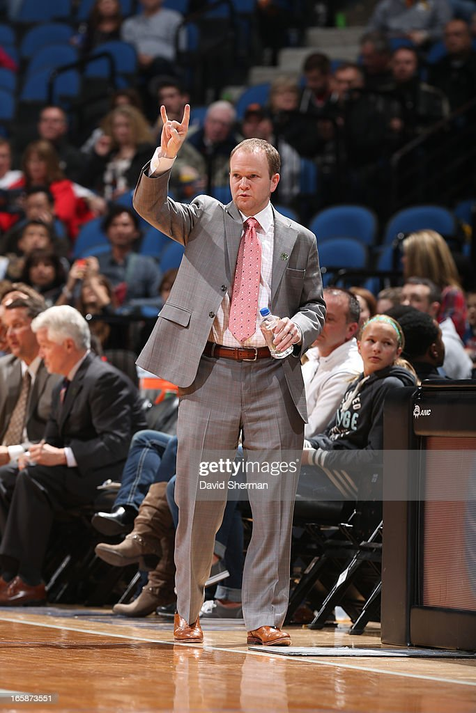 Lawrence Frank Head Coach of the Detroit Pistons calls a play during the game against the Minnesota Timberwolves on April 6 2013 at Target Center in...