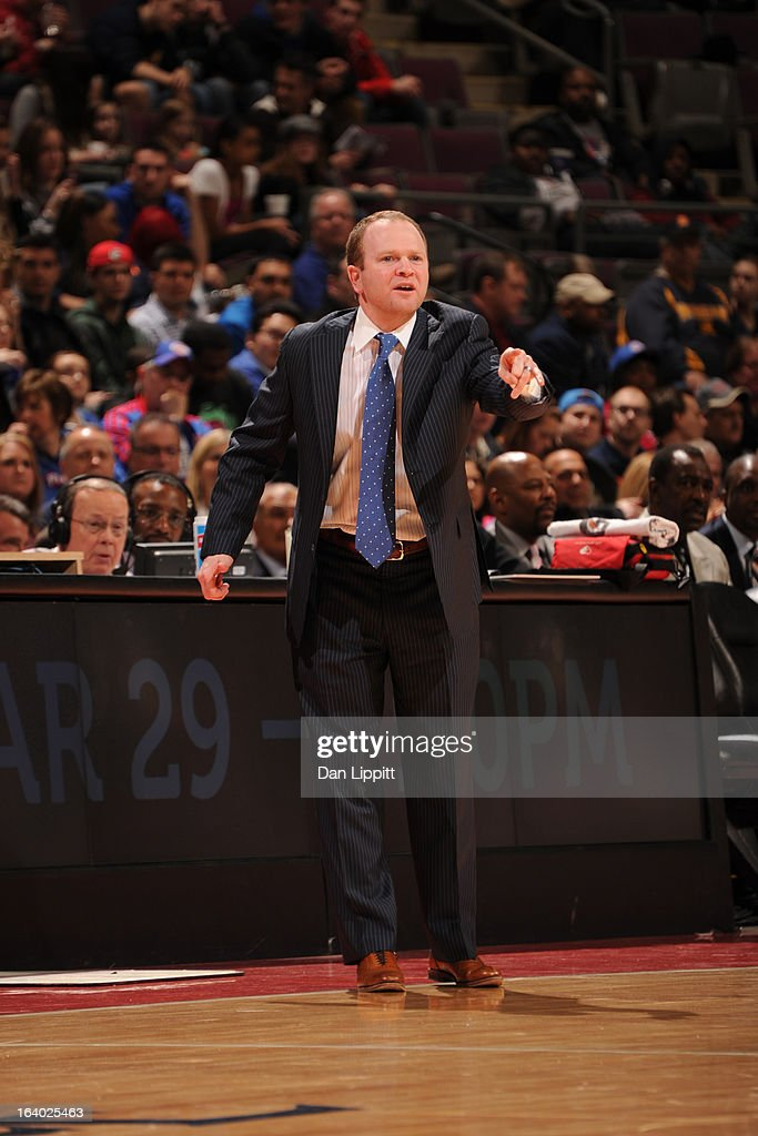 Lawrence Frank, Head Coach of the Detroit Pistons, directs his team during the game against the Brooklyn Nets on March 18, 2013 at The Palace of Auburn Hills in Auburn Hills, Michigan.