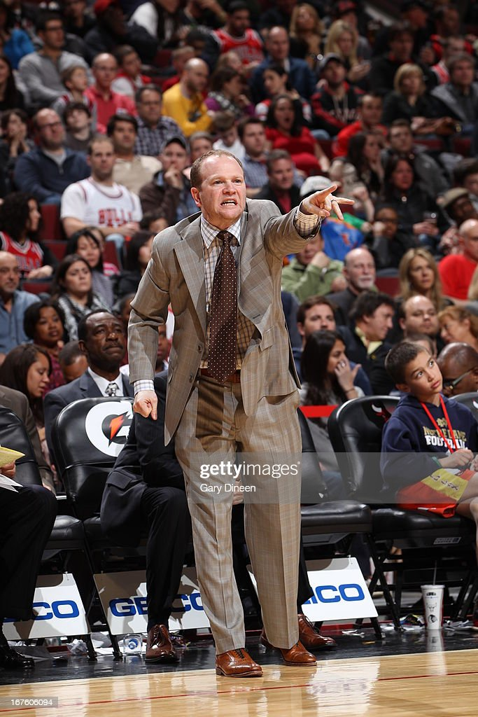 Lawrence Frank Head Coach of the Detroit Pistons directs his team during the game against the Chicago Bulls on March 31 2013 at the United Center in...