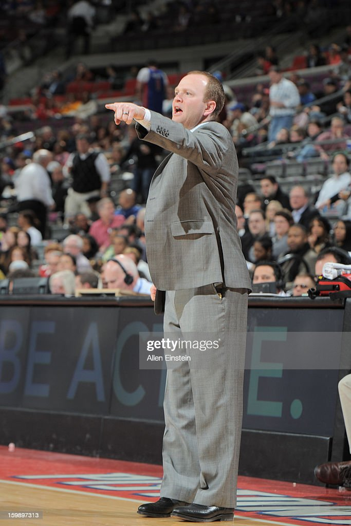 Lawrence Frank, Head Coach of the Detroit Pistons, instructs his team during the game against the Orlando Magic on January 22, 2013 at The Palace of Auburn Hills in Auburn Hills, Michigan.