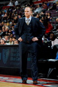 Lawrence Frank head coach of the Detroit Pistons looks on as his team plays the Houston Rockets on October 31 2012 at The Palace of Auburn Hills in...