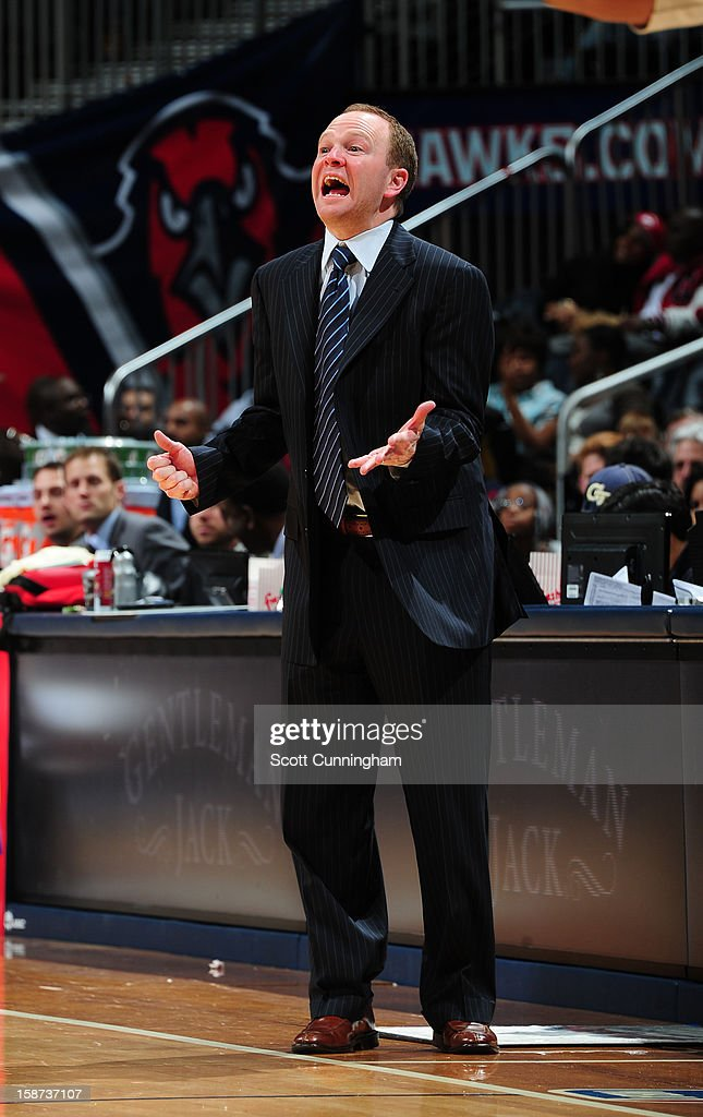 Lawrence Frank Head Coach of the Detroit Pistons reacts during the game against the Atlanta Hawks on December 26, 2012 at Philips Arena in Atlanta, Georgia.