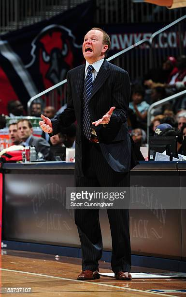 Lawrence Frank Head Coach of the Detroit Pistons reacts during the game against the Atlanta Hawks on December 26 2012 at Philips Arena in Atlanta...