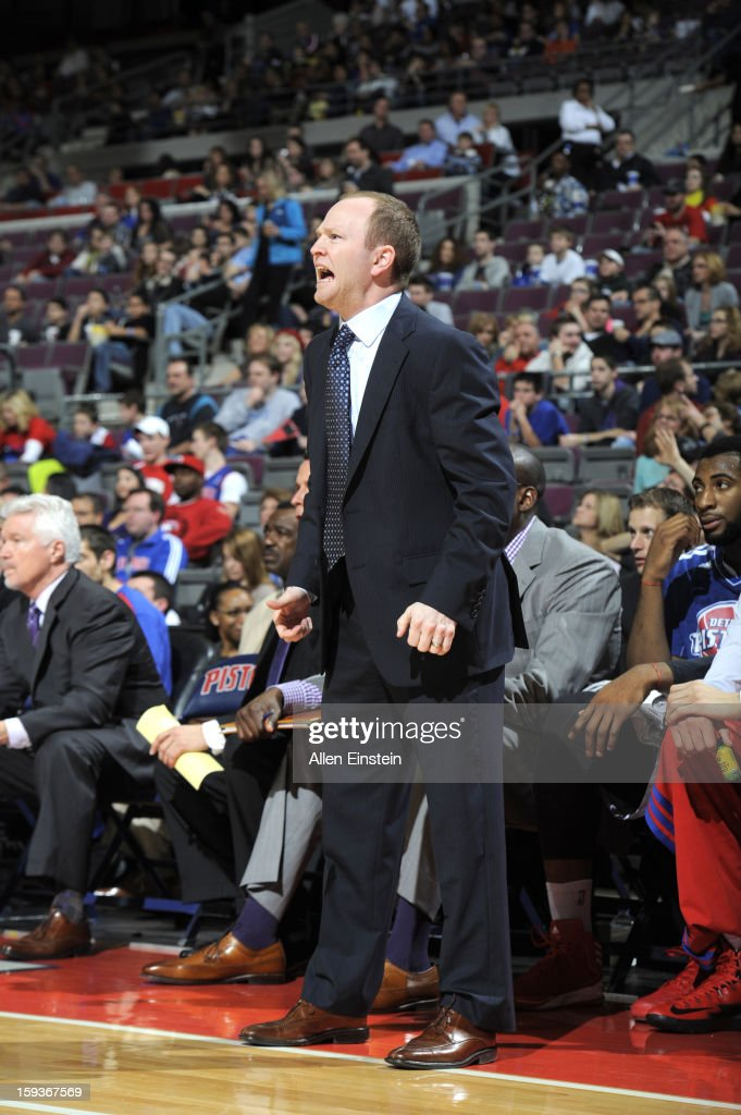 <a gi-track='captionPersonalityLinkClicked' href=/galleries/search?phrase=Lawrence+Frank&family=editorial&specificpeople=208918 ng-click='$event.stopPropagation()'>Lawrence Frank</a>, Head coach of the Detroit Pistons reacts during the game against the Utah Jazz on January 12, 2013 at The Palace of Auburn Hills in Auburn Hills, Michigan.