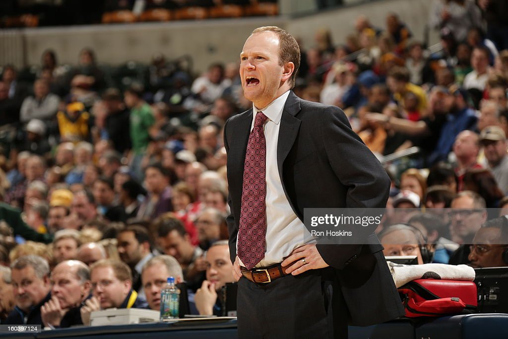 Lawrence Frank, Head Coach of the Detroit Pistons, reacts during the game against the Indiana Pacers on January 30, 2013 at Bankers Life Fieldhouse in Indianapolis, Indiana.