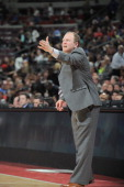 Lawrence Frank Head Coach of the Detroit Pistons reacts during the game against the Indiana Pacers on February 23 2013 at The Palace of Auburn Hills...